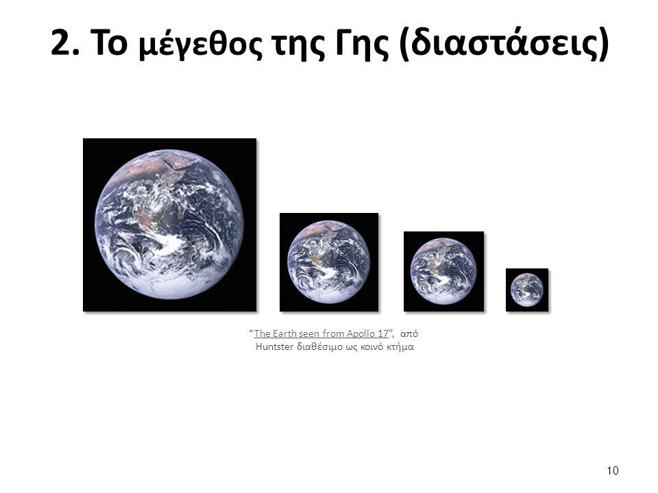 """2. Το μέγεθος της Γης (διαστάσεις) """"The Earth seen from Apollo 17"""", από The Earth seen from Apollo 17 Huntster διαθέσιμο ως κοινό κτήμα 10"""