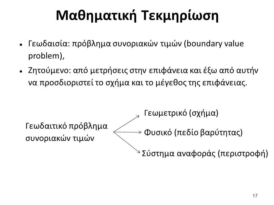 Μαθηματική Τεκμηρίωση Γεωδαισία: πρόβλημα συνοριακών τιμών (boundary value problem), Ζητούμενο: από μετρήσεις στην επιφάνεια και έξω από αυτήν να προσδιοριστεί το σχήμα και το μέγεθος της επιφάνειας.