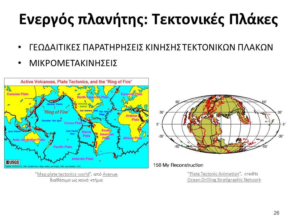 Ενεργός πλανήτης: Τεκτονικές Πλάκες ΓΕΩΔΑΙΤΙΚΕΣ ΠΑΡΑΤΗΡΗΣΕΙΣ ΚΙΝΗΣΗΣ ΤΕΚΤΟΝΙΚΩΝ ΠΛΑΚΩΝ ΜΙΚΡΟΜΕΤΑΚΙΝΗΣΕΙΣ Map plate tectonics world , από Avenue διαθέσιμο ως κοινό κτήμαMap plate tectonics worldAvenue Plate Tectonic Animation , credits Ocean Drilling Stratigraphic NetworkPlate Tectonic Animation Ocean Drilling Stratigraphic Network 26