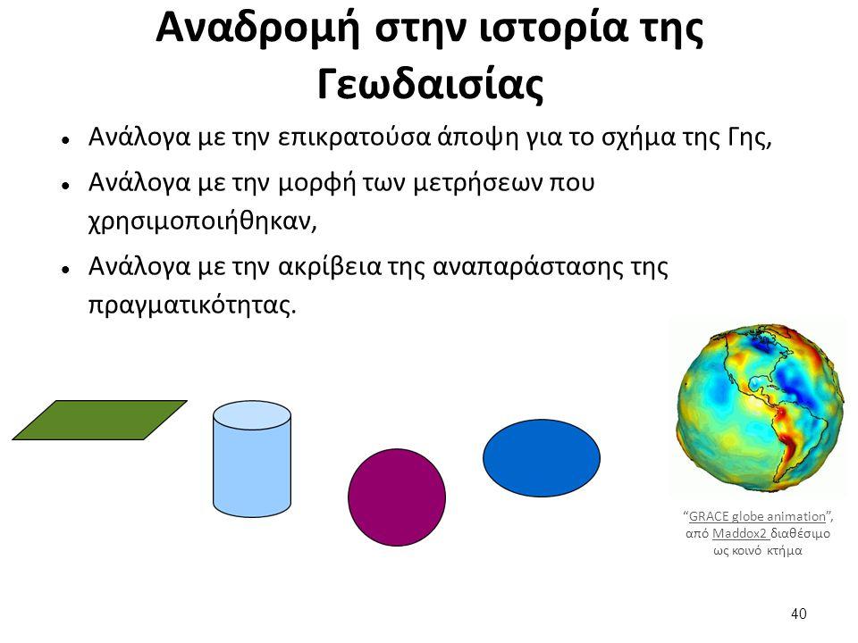 Αναδρομή στην ιστορία της Γεωδαισίας Ανάλογα με την επικρατούσα άποψη για το σχήμα της Γης, Ανάλογα με την μορφή των μετρήσεων που χρησιμοποιήθηκαν, Ανάλογα με την ακρίβεια της αναπαράστασης της πραγματικότητας.