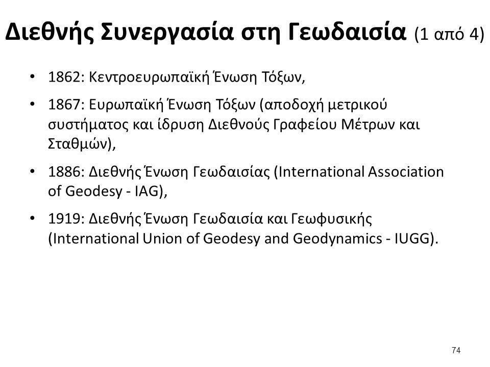 Διεθνής Συνεργασία στη Γεωδαισία (1 από 4) 1862: Κεντροευρωπαϊκή Ένωση Τόξων, 1867: Ευρωπαϊκή Ένωση Τόξων (αποδοχή μετρικού συστήματος και ίδρυση Διεθνούς Γραφείου Μέτρων και Σταθμών), 1886: Διεθνής Ένωση Γεωδαισίας (International Association of Geodesy - IAG), 1919: Διεθνής Ένωση Γεωδαισία και Γεωφυσικής (International Union of Geodesy and Geodynamics - IUGG).