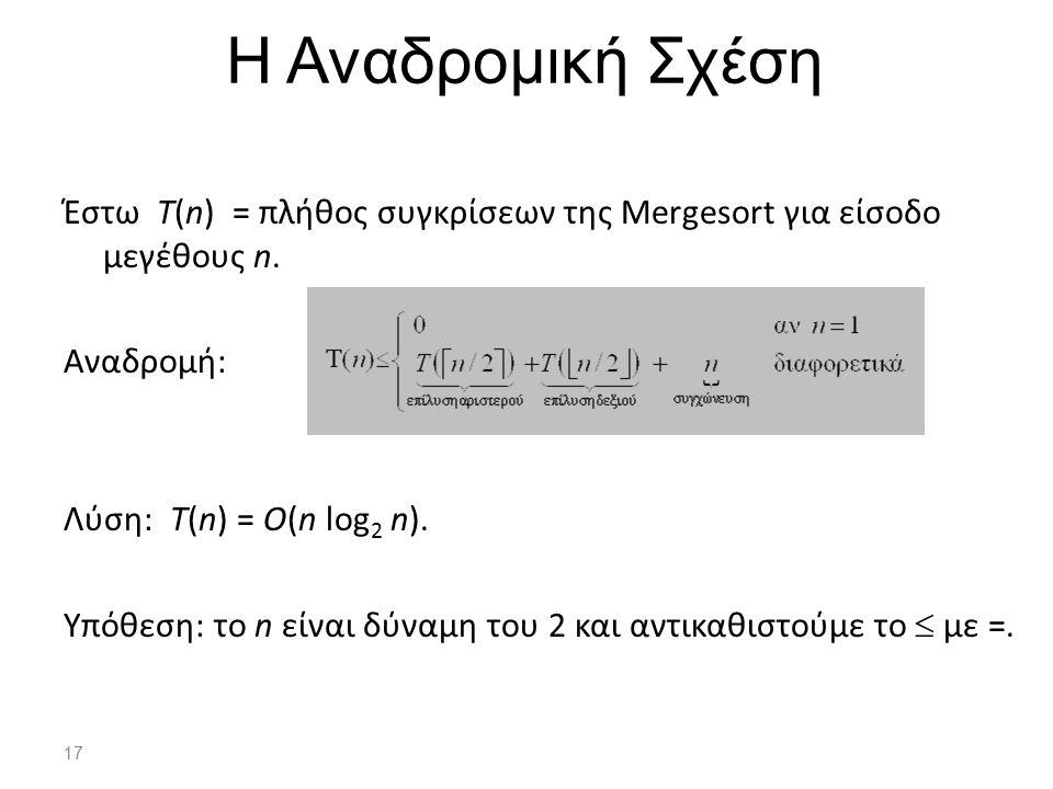 17 Η Αναδρομική Σχέση Έστω T(n) = πλήθος συγκρίσεων της Μergesort για είσοδο μεγέθους n. Αναδρομή: Λύση: T(n) = O(n log 2 n). Υπόθεση: το n είναι δύνα