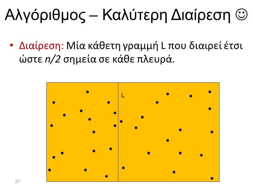 27 Αλγόριθμος – Καλύτερη Διαίρεση Διαίρεση: Μία κάθετη γραμμή L που διαιρεί έτσι ώστε n/2 σημεία σε κάθε πλευρά. L