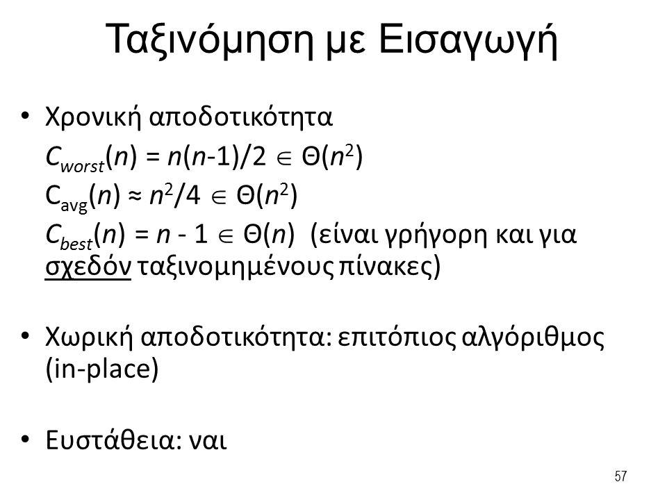 Ταξινόμηση με Εισαγωγή Χρονική αποδοτικότητα C worst (n) = n(n-1)/2  Θ(n 2 ) C avg (n) ≈ n 2 /4  Θ(n 2 ) C best (n) = n - 1  Θ(n) (είναι γρήγορη κα