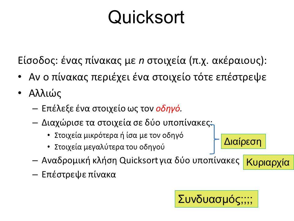 Quicksort Είσοδος: ένας πίνακας με n στοιχεία (π.χ. ακέραιους): Αν ο πίνακας περιέχει ένα στοιχείο τότε επέστρεψε Αλλιώς – Επέλεξε ένα στοιχείο ως τον