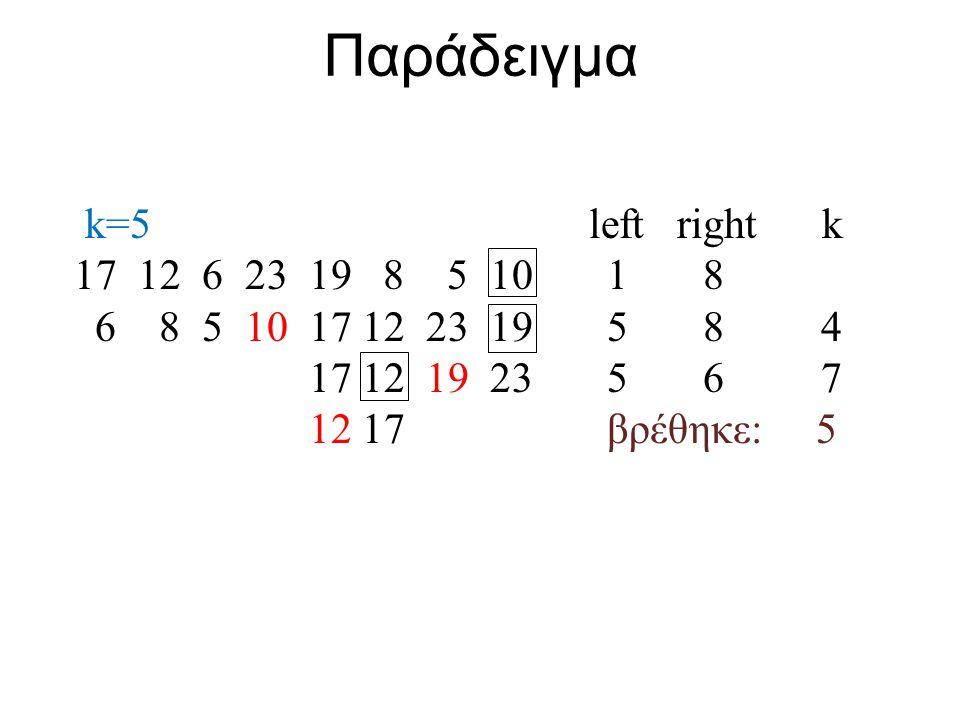 Παράδειγμα k=5 left right k 17 12 6 23 19 8 5 10 1 8 6 8 5 10 17 12 23 19 5 8 4 17 12 19 23 5 6 7 12 17 βρέθηκε: 5
