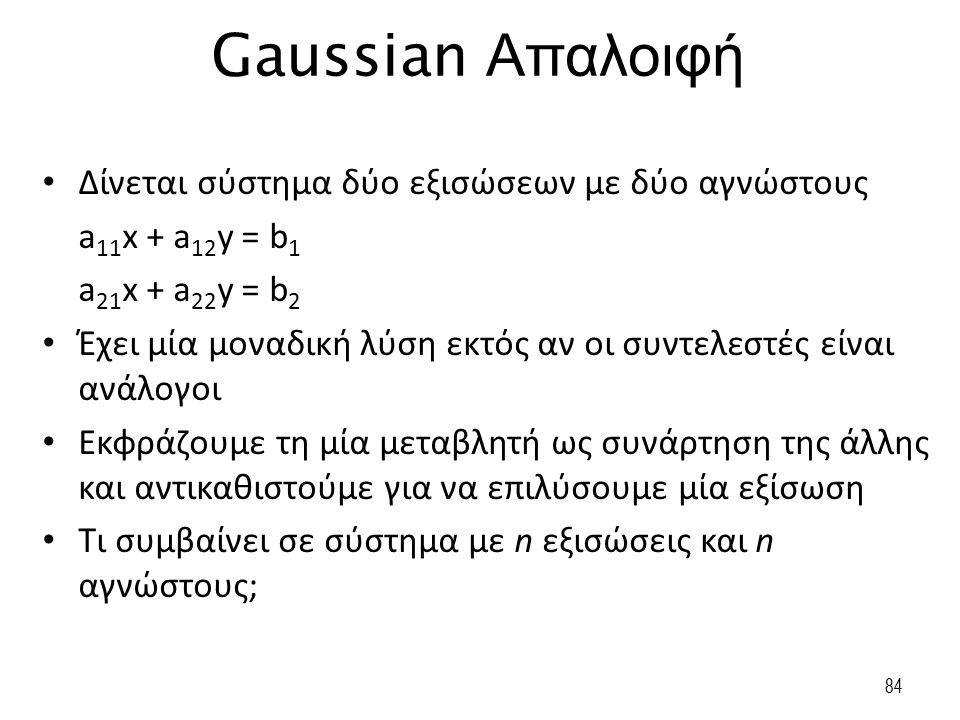84 Gaussian Απαλοιφή Δίνεται σύστημα δύο εξισώσεων με δύο αγνώστους a 11 x + a 12 y = b 1 a 21 x + a 22 y = b 2 Έχει μία μοναδική λύση εκτός αν οι συν