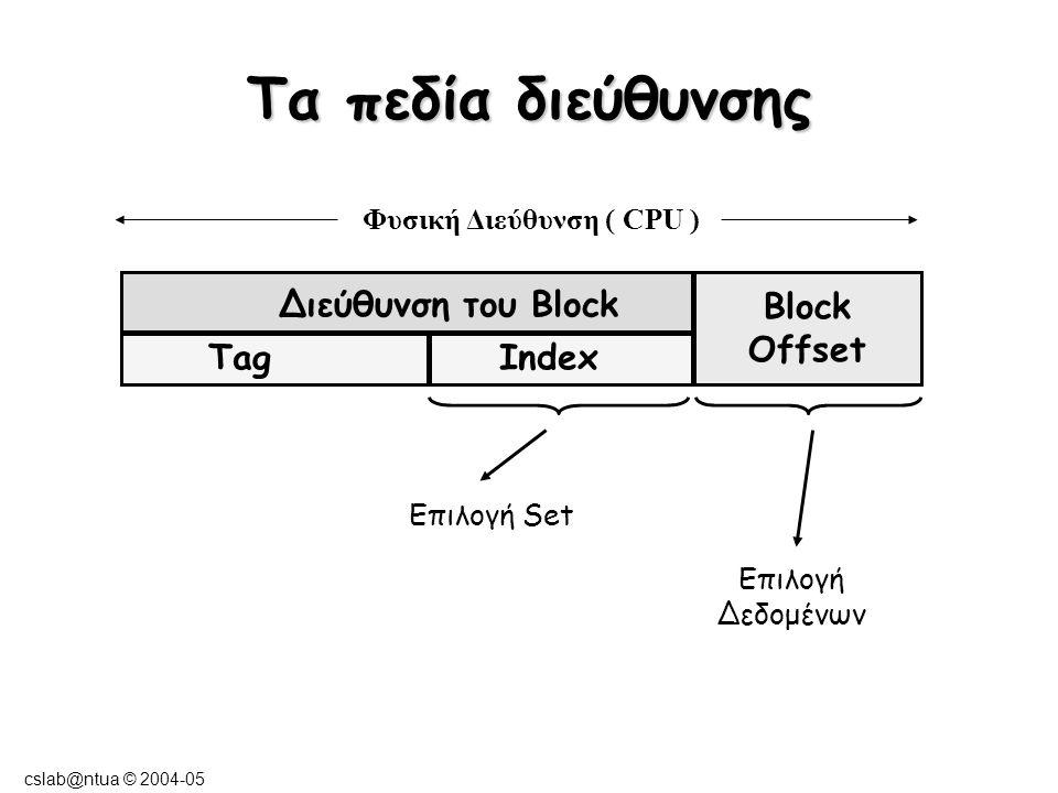 cslab@ntua © 2004-05 Τα πεδία διεύθυνσης Διεύθυνση του Block Block Offset TagIndex Μέγεθος tag = μέγεθος address - μέγεθος index - μέγεθος offset Μέγεθος Index = log2( Συνολικός αριθμός blocks/associativity) Μέγεθος block offset = log2(μέγεθος block) Φυσική Διεύθυνση ( CPU )