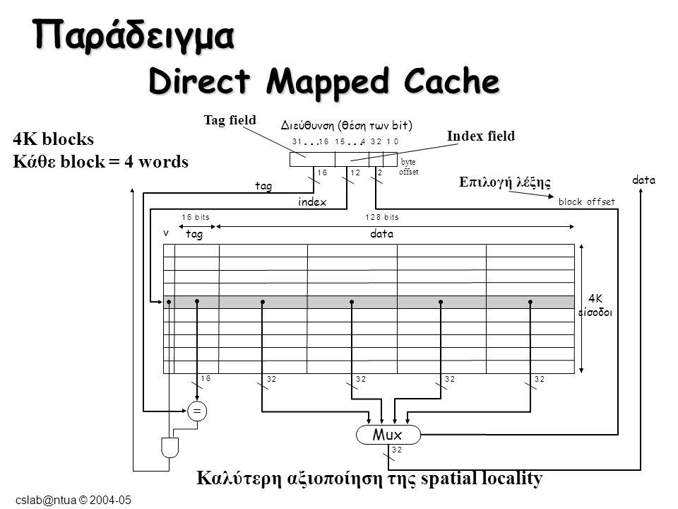 cslab@ntua © 2004-05 4-Way Set Associative Cache: (MIPS) 256 sets 1024 block frames Hlt