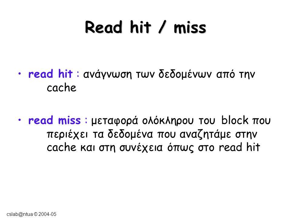 cslab@ntua © 2004-05 Write hit / miss Write-back & Write-allocate –write hit :  Εγγραφή των δεδομένων στην cache (μόνο).