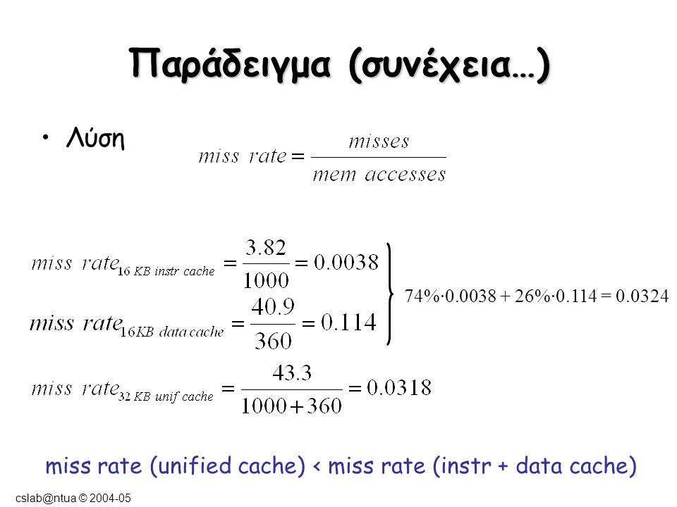 cslab@ntua © 2004-05 Παράδειγμα (συνέχεια…) Λύση μέσος χρόνος/access (instr+data cache) < μέσος χρόνος/access (unified cache)