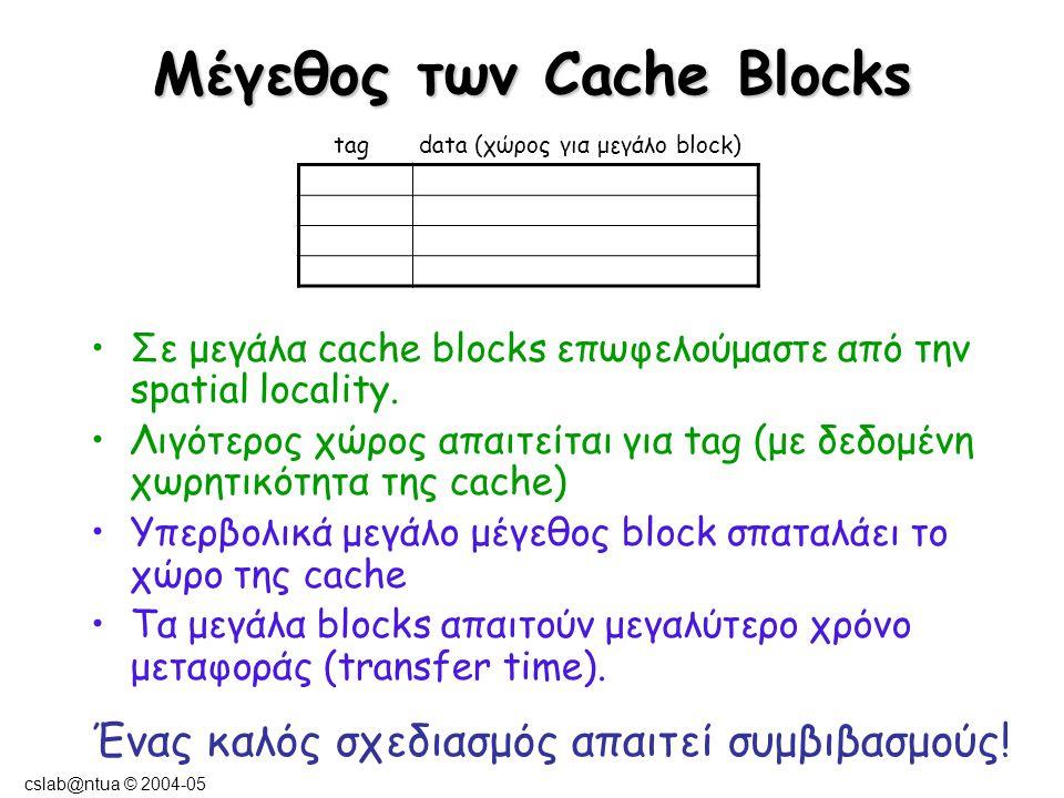 cslab@ntua © 2004-05 Μέγεθος Block και Miss Rate Κανόνας : το μέγεθος του block πρέπει να είναι μικρότερο από την τετραγωνική ρίζα του μεγέθους της cache.