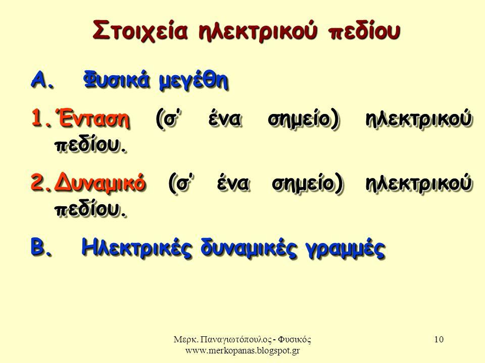 Μερκ. Παναγιωτόπουλος - Φυσικός www.merkopanas.blogspot.gr 10 Στοιχεία ηλεκτρικού πεδίου Α. Φυσικά μεγέθη 1.Ένταση (σ' ένα σημείο) ηλεκτρικού πεδίου.
