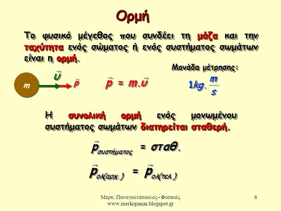 Μερκ. Παναγιωτόπουλος - Φυσικός www.merkopanas.blogspot.gr 6 Το φυσικό μέγεθος που συνδέει τη μάζα και την ταχύτητα ενός σώματος ή ενός συστήματος σωμ