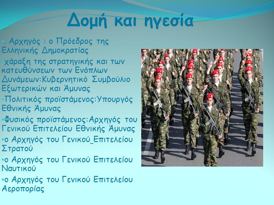 . Αρχηγός : ο Πρόεδρος της Ελληνικής Δημοκρατίας χάραξη της στρατηγικής και των κατευθύνσεων των Ενόπλων Δυνάμεων:Κυβερνητικό Συμβούλιο Εξωτερικών και