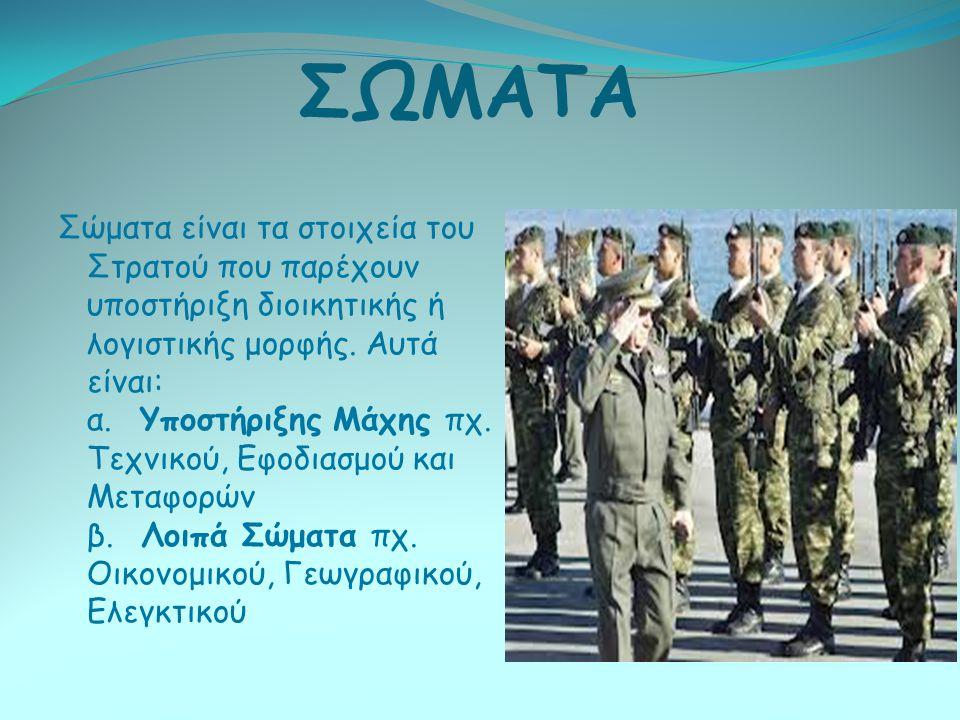 ΣΩΜΑΤΑ Σώματα είναι τα στοιχεία του Στρατού που παρέχουν υποστήριξη διοικητικής ή λογιστικής μορφής. Αυτά είναι: α. Υποστήριξης Μάχης πχ. Τεχνικού, Εφ