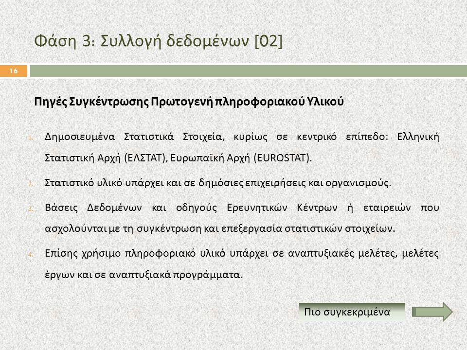 Φάση 3: Συλλογή δεδομένων [02] 1. Δημοσιευμένα Στατιστικά Στοιχεία, κυρίως σε κεντρικό επίπεδο : Ελληνική Στατιστική Αρχή ( ΕΛΣΤΑΤ ), Ευρωπαϊκή Αρχή (