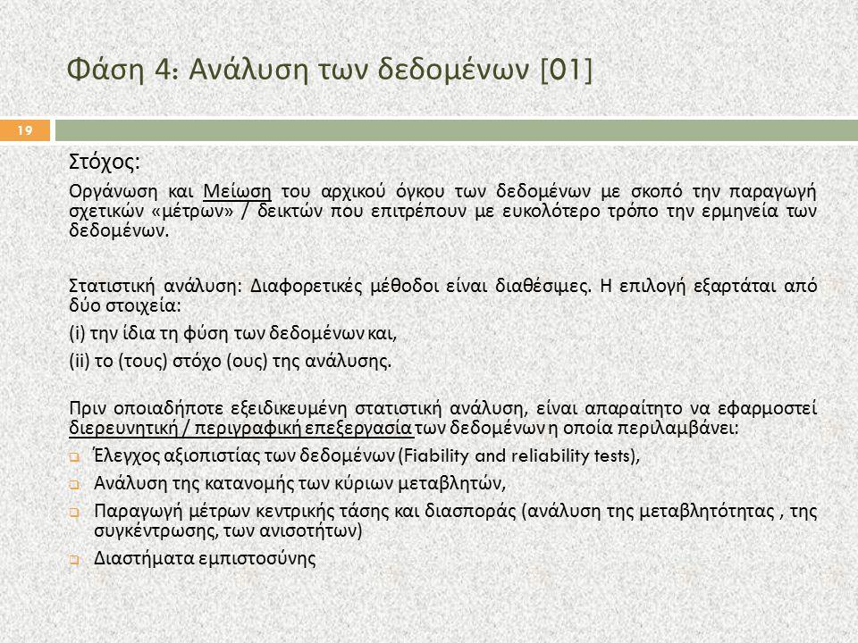 Φάση 4: Ανάλυση των δεδομένων [01] Στόχος : Οργάνωση και Μείωση του αρχικού όγκου των δεδομένων με σκοπό την παραγωγή σχετικών « μέτρων » / δεικτών πο