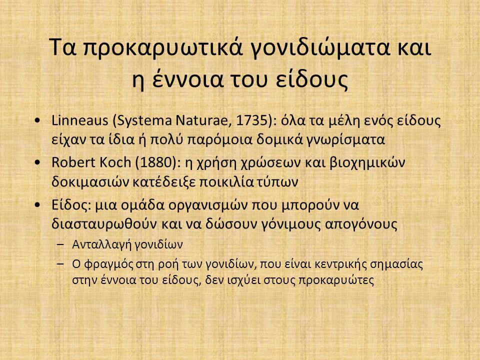 Τα προκαρυωτικά γονιδιώματα και η έννοια του είδους Linneaus (Systema Naturae, 1735): όλα τα μέλη ενός είδους είχαν τα ίδια ή πολύ παρόμοια δομικά γνω