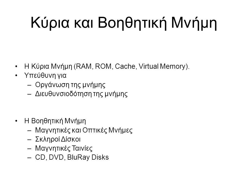 Κύρια και Βοηθητική Μνήμη Η Κύρια Μνήμη (RAM, ROM, Cache, Virtual Memory). Υπεύθυνη για –Οργάνωση της μνήμης –Διευθυνσιοδότηση της μνήμης Η Βοηθητική