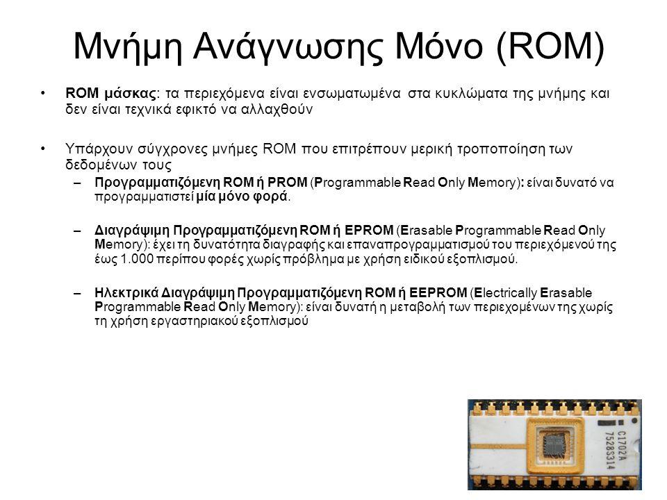 Μνήμη Ανάγνωσης Μόνο (ROM) ROM μάσκας: τα περιεχόμενα είναι ενσωματωμένα στα κυκλώματα της μνήμης και δεν είναι τεχνικά εφικτό να αλλαχθούν Υπάρχουν σύγχρονες μνήμες ROM που επιτρέπουν μερική τροποποίηση των δεδομένων τους –Προγραμματιζόμενη ROM ή PROM (Programmable Read Only Memory): είναι δυνατό να προγραμματιστεί μία μόνο φορά.