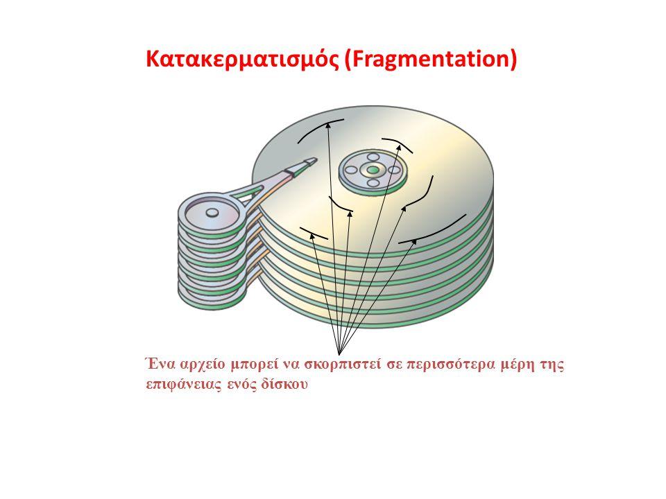 Κατακερματισμός (Fragmentation) Ένα αρχείο μπορεί να σκορπιστεί σε περισσότερα μέρη της επιφάνειας ενός δίσκου