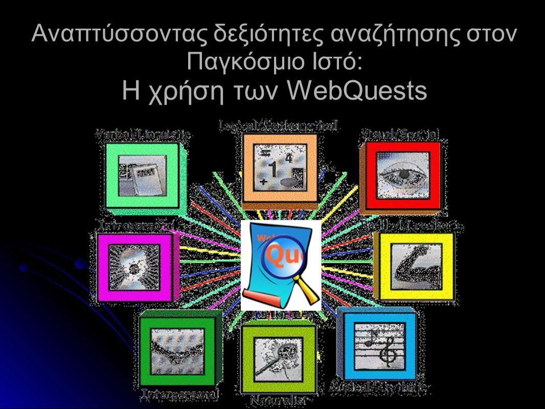 Σχεδιασμός webquest Απαιτεί: Τον καθορισμό εφικτών διδακτικών στόχων, Τον γνωστικό προσανατολισμό των μαθητών, Τη δημιουργία ενδιαφέροντος με τη ανάθεση σχετικών- εφικτών καθηκόντων και εργασιών, Την παροχή των μέσων και υλικών, Την σωστή καθοδήγηση για την περάτωση των εργασιών που ανατέθηκαν, Την παρουσίασή των αποτελεσμάτων της έρευνας με διάφορα μέσα και τρόπους, Την δυνατότητα αυτοαξιολόγησης Την επέκταση της γνώσης σε διαφορετικούς γνωστικούς τομείς.