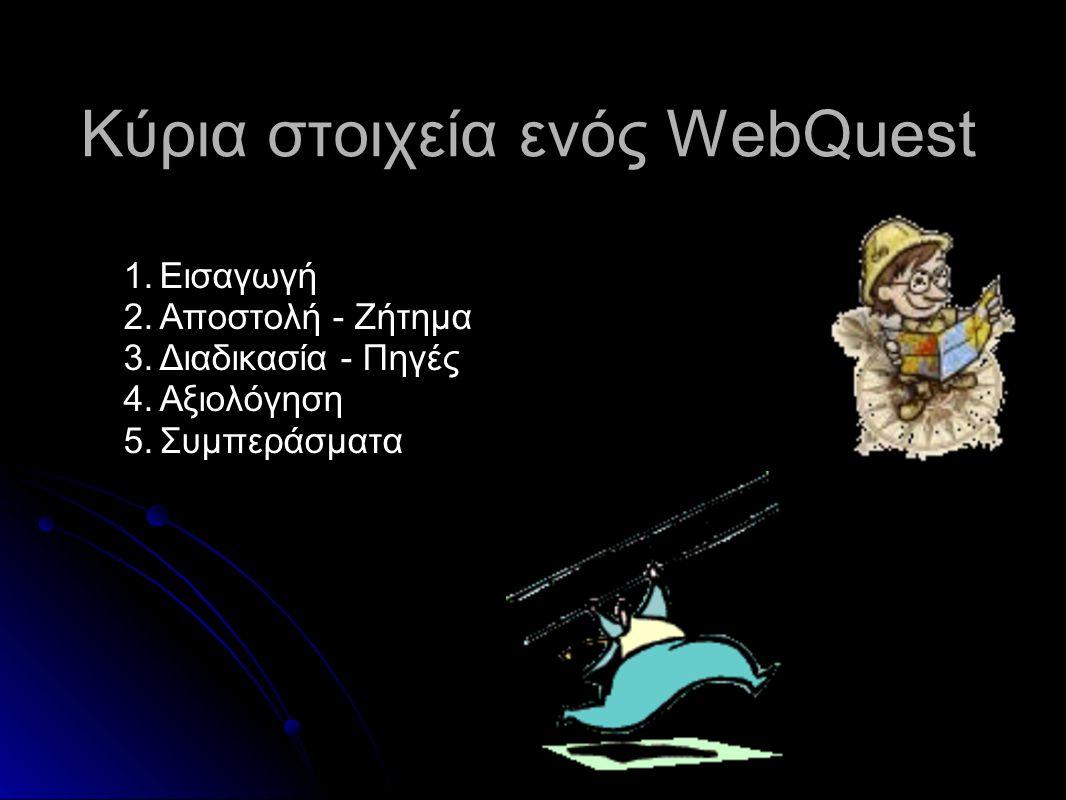 Κύρια στοιχεία ενός WebQuest 1.Εισαγωγή 2.Αποστολή - Ζήτημα 3.Διαδικασία - Πηγές 4.Αξιολόγηση 5.Συμπεράσματα