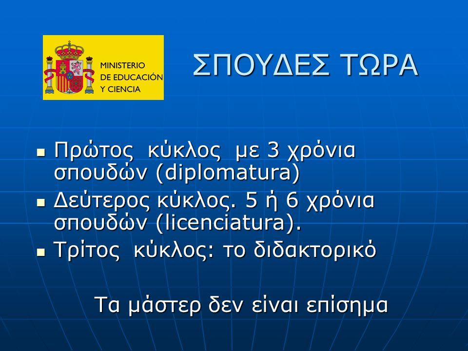 ΣΠΟΥΔΕΣ ΤΩΡΑ ΣΠΟΥΔΕΣ ΤΩΡΑ Πρώτος κύκλος με 3 χρόνια σπουδών (diplomatura) Πρώτος κύκλος με 3 χρόνια σπουδών (diplomatura) Δεύτερος κύκλος.