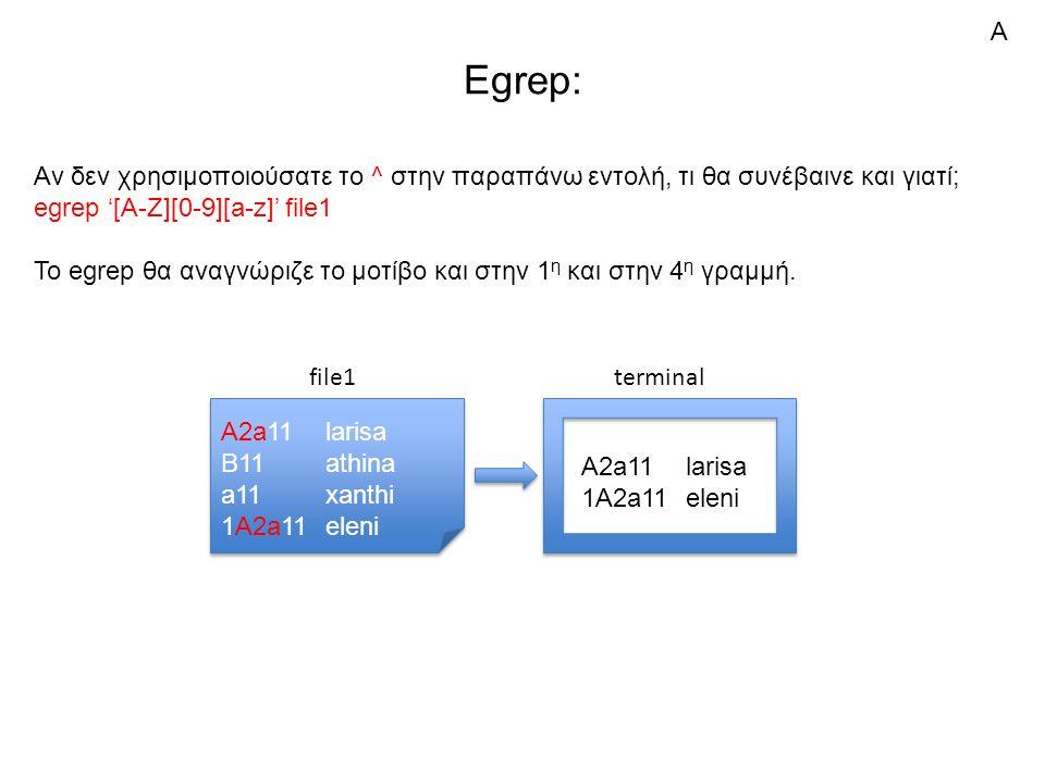 Egrep: Αν δεν χρησιμοποιούσατε το ^ στην παραπάνω εντολή, τι θα συνέβαινε και γιατί; egrep '[A-Z][0-9][a-z]' file1 Το egrep θα αναγνώριζε το μοτίβο κα