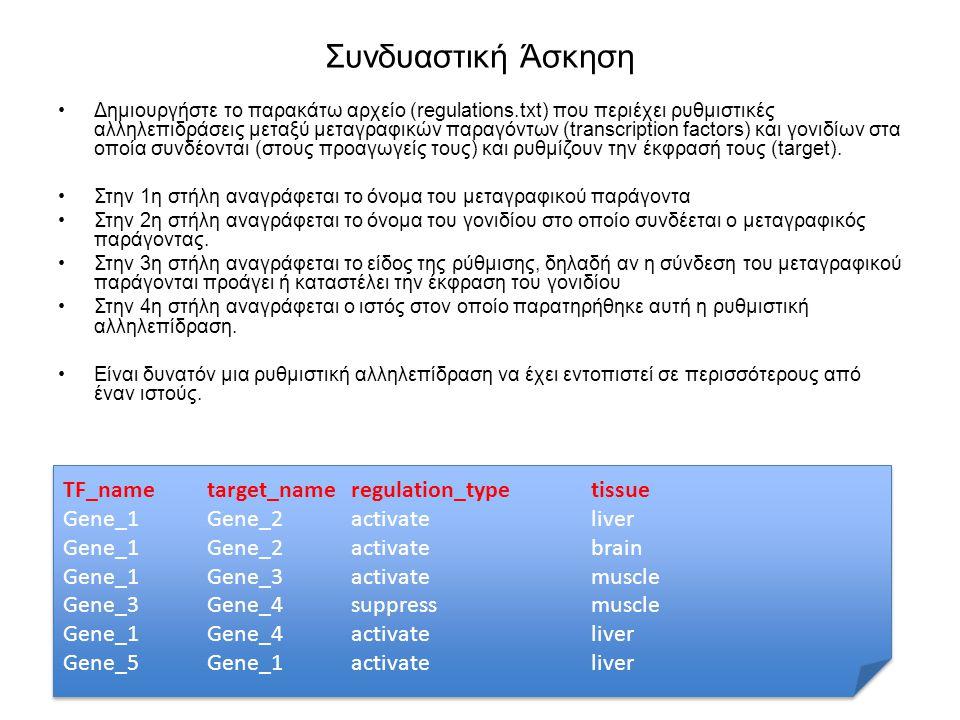 Συνδυαστική Άσκηση Δημιουργήστε το παρακάτω αρχείο (regulations.txt) που περιέχει ρυθμιστικές αλληλεπιδράσεις μεταξύ μεταγραφικών παραγόντων (transcri