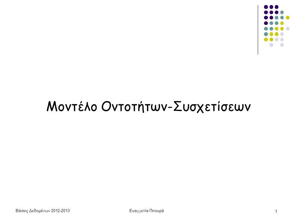 Βάσεις Δεδομένων 2012-2013Ευαγγελία Πιτουρά 1 Μοντέλο Οντοτήτων-Συσχετίσεων