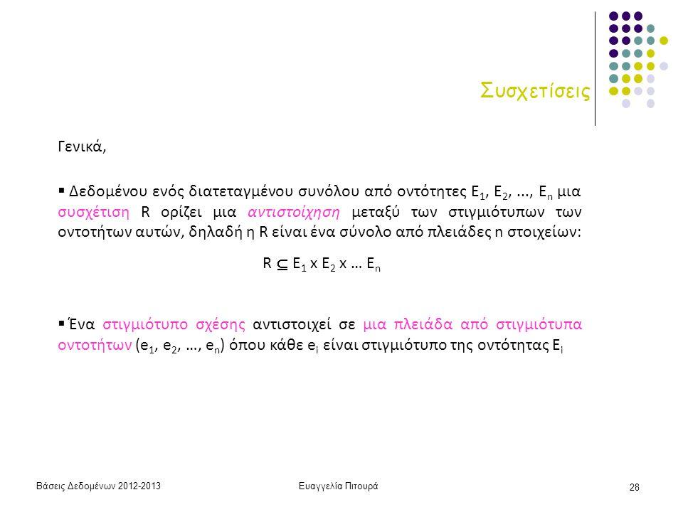 Βάσεις Δεδομένων 2012-2013Ευαγγελία Πιτουρά 28 Συσχετίσεις Γενικά,  Δεδομένου ενός διατεταγμένου συνόλου από οντότητες Ε 1, Ε 2,..., Ε n μια συσχέτισ
