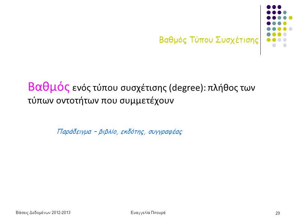 Βάσεις Δεδομένων 2012-2013Ευαγγελία Πιτουρά 29 Βαθμός Τύπου Συσχέτισης Βαθμός ενός τύπου συσχέτισης (degree): πλήθος των τύπων οντοτήτων που συμμετέχο