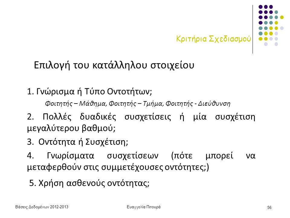 Βάσεις Δεδομένων 2012-2013Ευαγγελία Πιτουρά 56 Κριτήρια Σχεδιασμού Επιλογή του κατάλληλου στοιχείου 1. Γνώρισμα ή Τύπο Οντοτήτων; 2. Πολλές δυαδικές σ