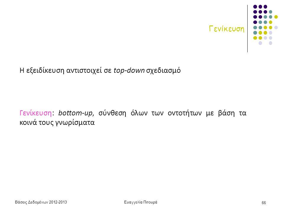 Βάσεις Δεδομένων 2012-2013Ευαγγελία Πιτουρά 66 Γενίκευση Η εξειδίκευση αντιστοιχεί σε top-down σχεδιασμό Γενίκευση: bottom-up, σύνθεση όλων των οντοτή