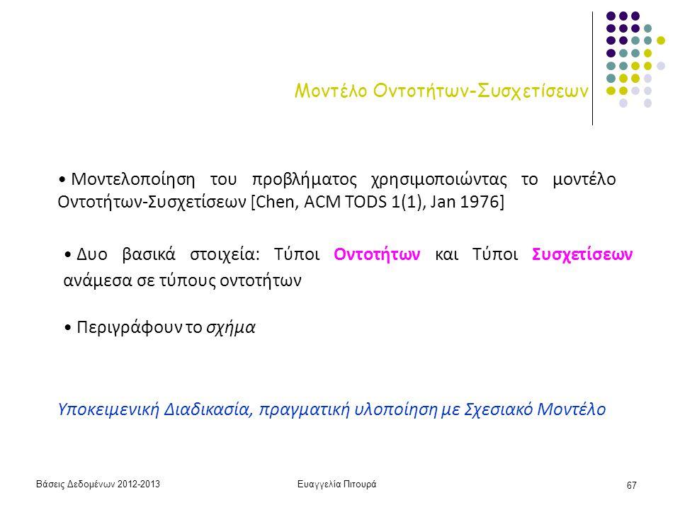 Βάσεις Δεδομένων 2012-2013Ευαγγελία Πιτουρά 67 Μοντέλο Οντοτήτων-Συσχετίσεων Μοντελοποίηση του προβλήματος χρησιμοποιώντας το μοντέλο Οντοτήτων-Συσχετ