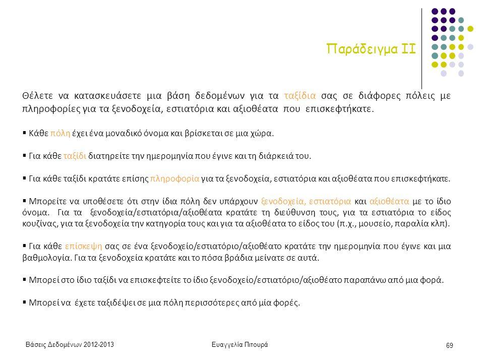 Βάσεις Δεδομένων 2012-2013Ευαγγελία Πιτουρά 69 Παράδειγμα ΙI Θέλετε να κατασκευάσετε μια βάση δεδομένων για τα ταξίδια σας σε διάφορες πόλεις με πληρο