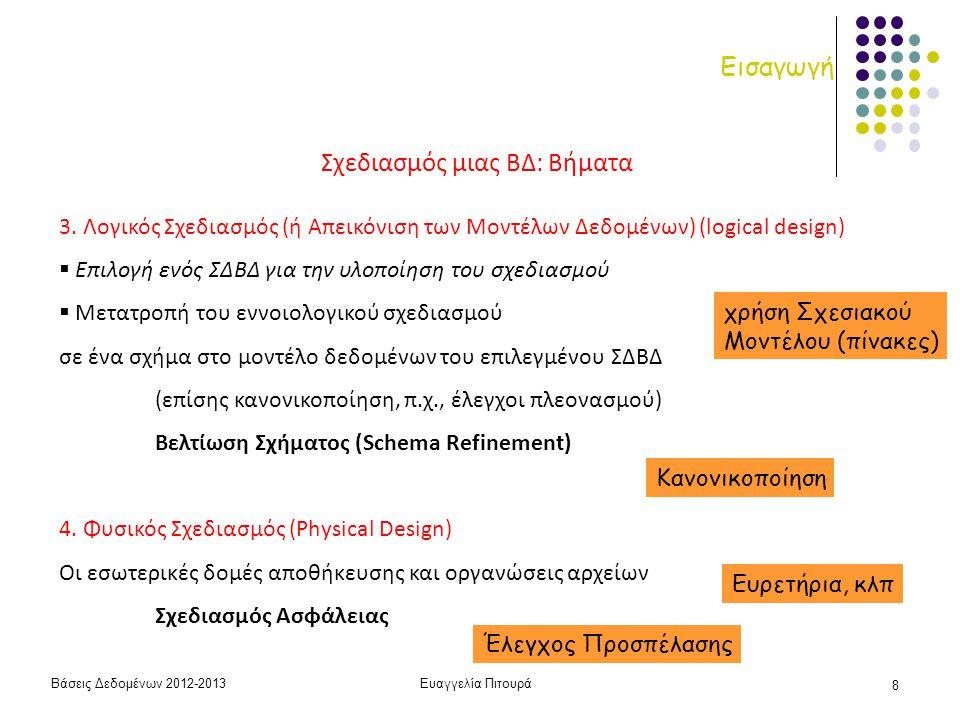 Βάσεις Δεδομένων 2012-2013Ευαγγελία Πιτουρά 8 Εισαγωγή Σχεδιασμός μιας ΒΔ: Βήματα 3. Λογικός Σχεδιασμός (ή Απεικόνιση των Μοντέλων Δεδομένων) (logical