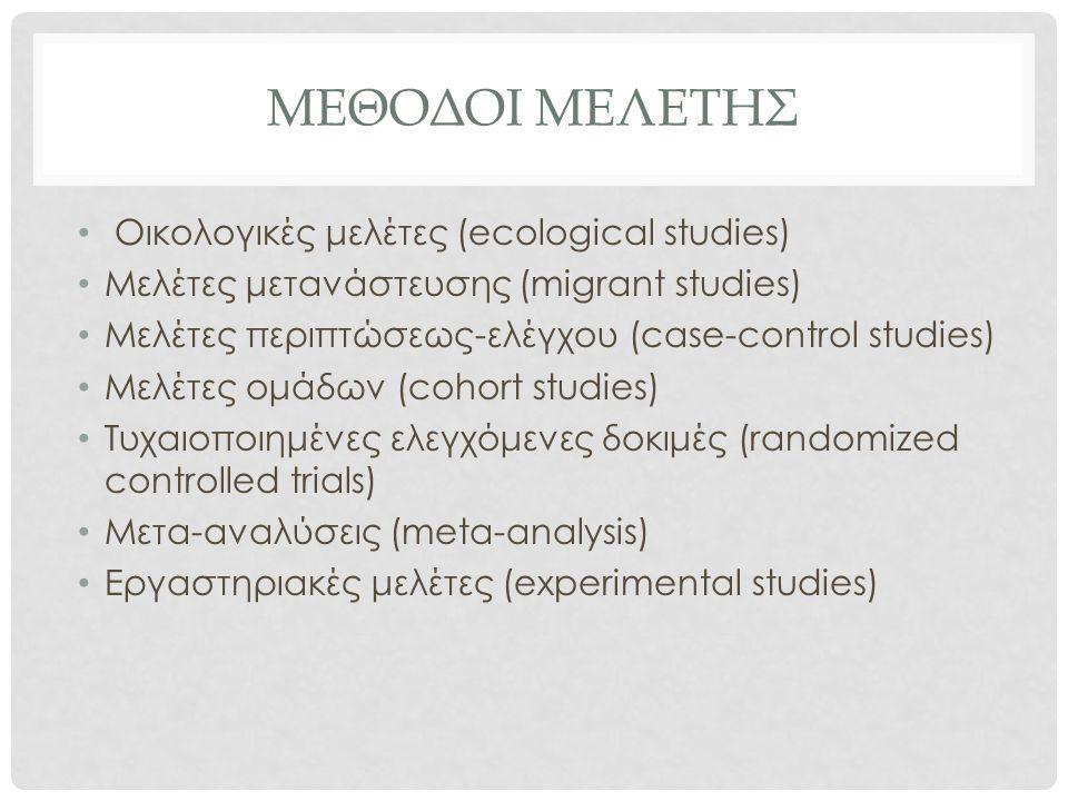 ΜΕΘΟΔΟΙ ΜΕΛΕΤΗΣ Οικολογικές μελέτες (ecological studies) Μελέτες μετανάστευσης (migrant studies) Μελέτες περιπτώσεως-ελέγχου (case-control studies) Με