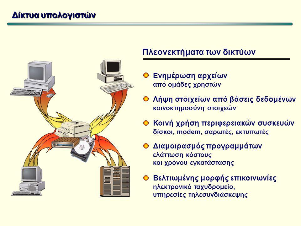 Δίκτυα υπολογιστών Ενημέρωση αρχείων από ομάδες χρηστών Λήψη στοιχείων από βάσεις δεδομένων κοινοκτημοσύνη στοιχεών Κοινή χρήση περιφερειακών συσκευών δίσκοι, modem, σαρωτές, εκτυπωτές Διαμοιρασμός προγραμμάτων ελάττωση κόστους και χρόνου εγκατάστασης Βελτιωμένης μορφής επικοινωνίες ηλεκτρονικό ταχυδρομείο, υπηρεσίες τηλεσυνδιάσκεψης Πλεονεκτήματα των δικτύων