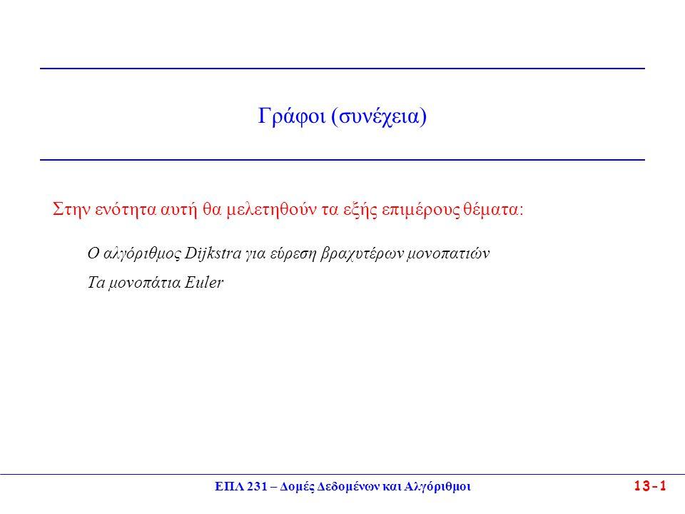 ΕΠΛ 231 – Δομές Δεδομένων και Αλγόριθμοι13-1 Στην ενότητα αυτή θα μελετηθούν τα εξής επιμέρους θέματα: Ο αλγόριθμος Dijkstra για εύρεση βραχυτέρων μονοπατιών Ta μονοπάτια Euler Γράφοι (συνέχεια)