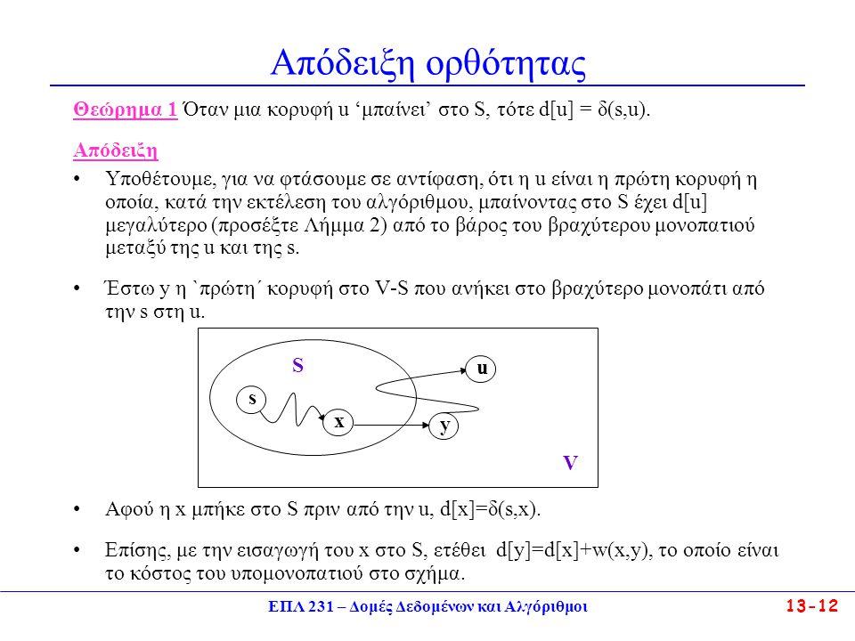 ΕΠΛ 231 – Δομές Δεδομένων και Αλγόριθμοι13-12 Απόδειξη ορθότητας Θεώρημα 1 Όταν μια κορυφή u 'μπαίνει' στο S, τότε d[u] = δ(s,u).