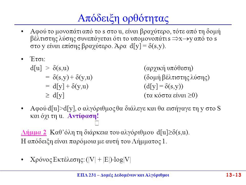 ΕΠΛ 231 – Δομές Δεδομένων και Αλγόριθμοι13-13 Απόδειξη ορθότητας Αφού το μονοπάτι από τo s στο u, είναι βραχύτερο, τότε από τη δομή βέλτιστης λύσης συ