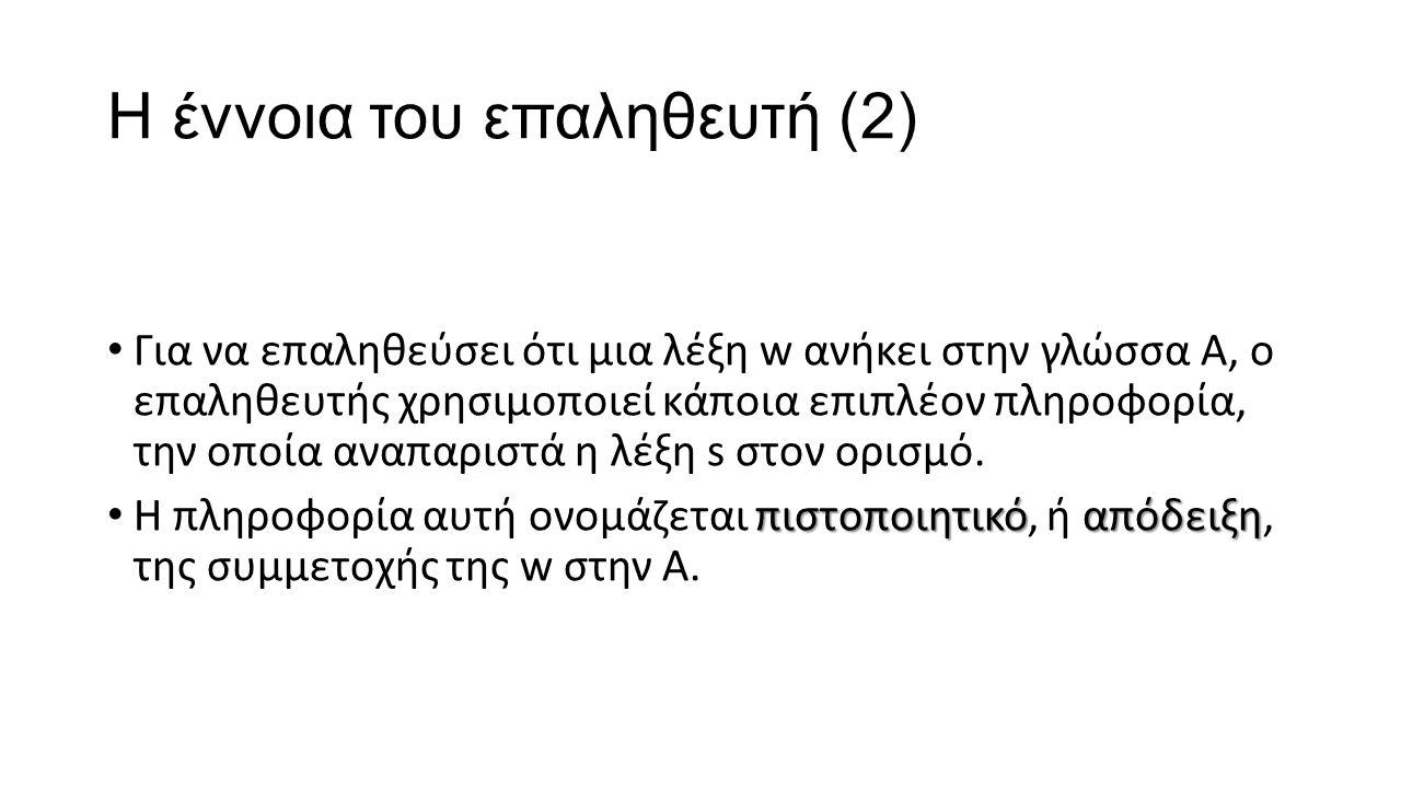 Η έννοια του επαληθευτή (2) Για να επαληθεύσει ότι μια λέξη w ανήκει στην γλώσσα Α, ο επαληθευτής χρησιμοποιεί κάποια επιπλέον πληροφορία, την οποία α
