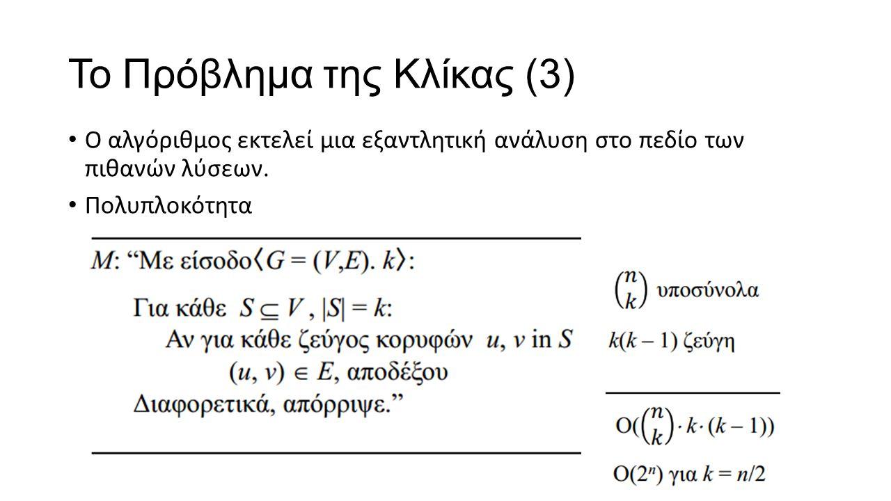 To Πρόβλημα της Κλίκας (3) Ο αλγόριθμος εκτελεί μια εξαντλητική ανάλυση στο πεδίο των πιθανών λύσεων. Πολυπλοκότητα