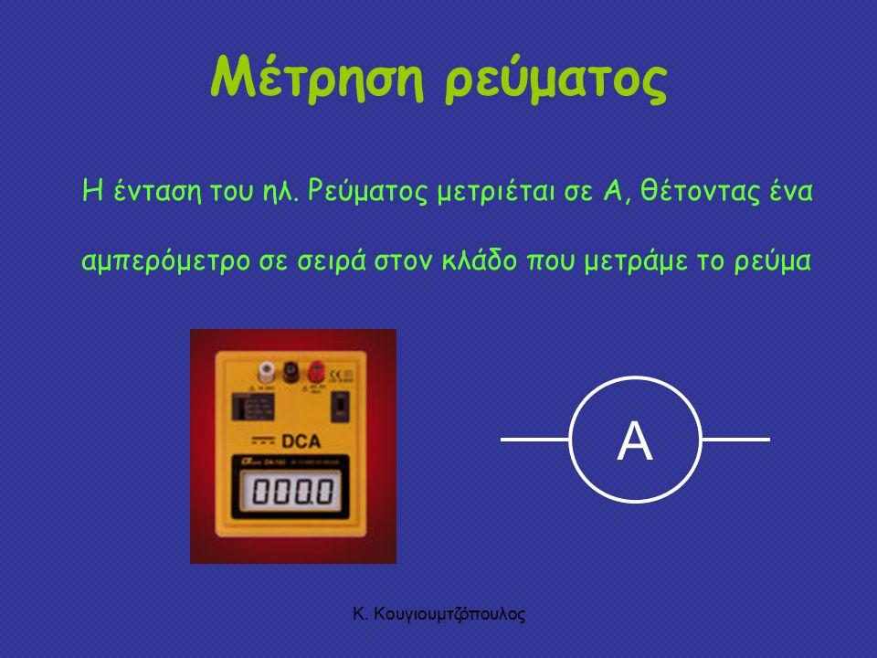 Κ.Κουγιουμτζόπουλος Μέτρηση ρεύματος Η ένταση του ηλ.