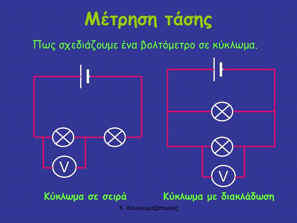 Κ.Κουγιουμτζόπουλος Μέτρηση τάσης V Πως σχεδιάζουμε ένα βολτόμετρο σε κύκλωμα.