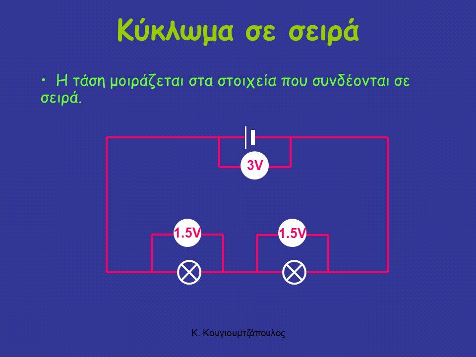 Κ.Κουγιουμτζόπουλος Κύκλωμα σε σειρά 1.5V Η τάση μοιράζεται στα στοιχεία που συνδέονται σε σειρά.