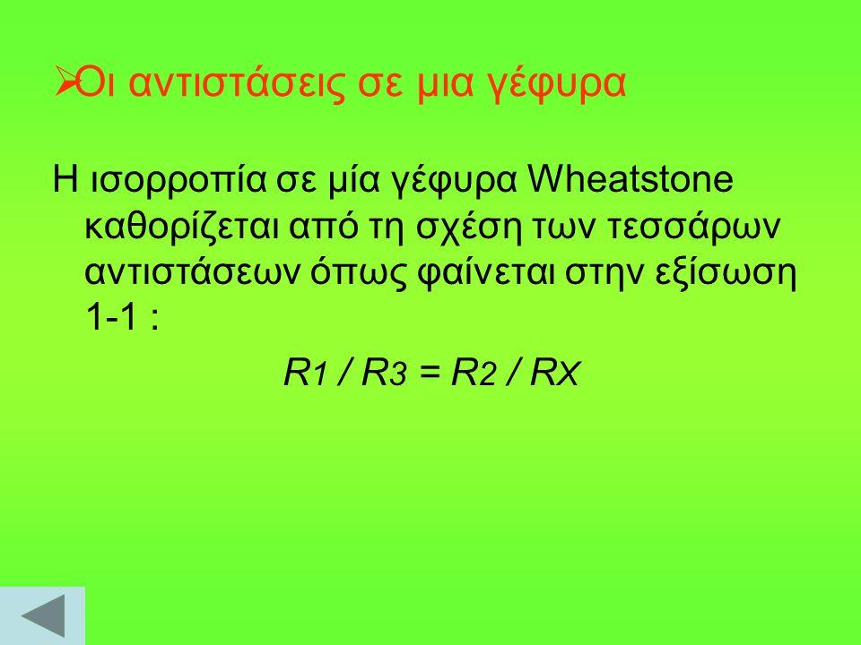  Οι αντιστάσεις σε μια γέφυρα Η ισορροπία σε μία γέφυρα Wheatstone καθορίζεται από τη σχέση των τεσσάρων αντιστάσεων όπως φαίνεται στην εξίσωση 1-1 :